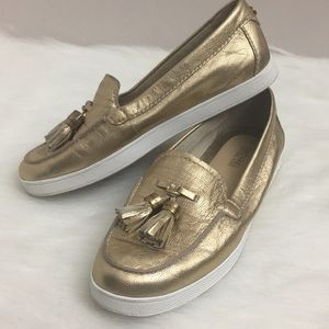 Michael Kors Gold Leather Loafers